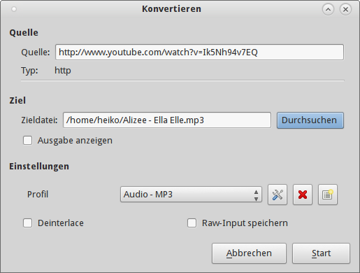audiospur von youtube videos