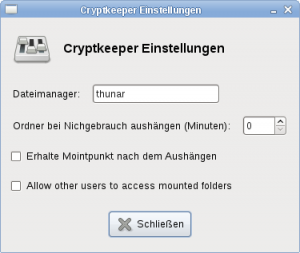 CryptKeeper Optionen